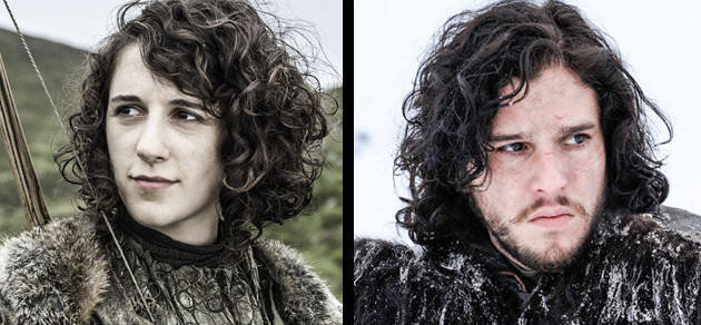 Side by side portraits of Meera Reed and Jon Snow